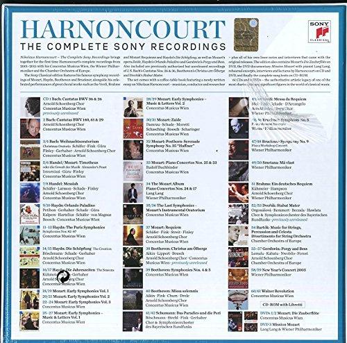 Nikolaus Harnoncourt, Sony, RCA, Wiener Philharmoniker, COncentus musicus Wien, Haendel, Mozart, Haydn, Bach, haendel, Dvorak, Gershwin, Verdi, Schumann, Bruckner, Beethoven
